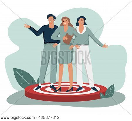 People Standing On Target. Concept Of Focus Group Members, Market Research Participants, Public Surv