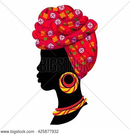 Silhouette Of A Female Head In A Headdress. Color Vector Illustration In Flat Style