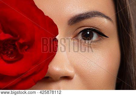 Beautiful Macro Shot Of Female Eye With Nude Makeup. Perfect Shape Of Eyebrows, Pink Eyeshadows And