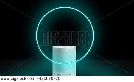 Marble Product Display Podium, Marble Base, Cosmetic Display Stand With Neon Circle. 3d Rendering