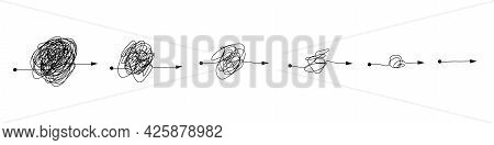 Complex And Simple Line Path Set. Scribble Line Knot From Complicated To Simplicity Shapes.