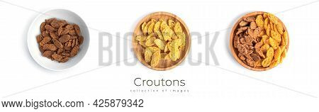 Croutons Isolated On White Background. Rye Croutons Isolated. Salty Croutons. Snacks Isolated.