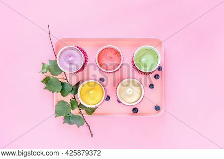 Assortment Of Natural Ice Cream. Various Homemade, Vegan Ice Creams On A Pink Tray On A Pink Backgro