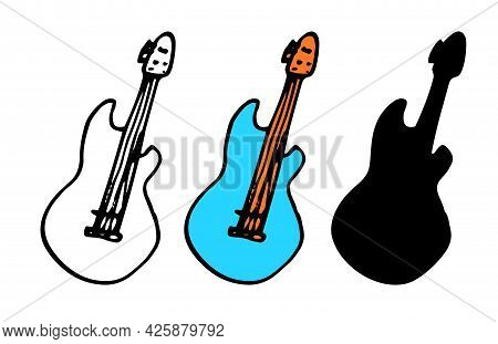 Vector Guitar In Blue Color. A Hand-drawn Set Of Elements In The Doodle Style, A Musical Instrument