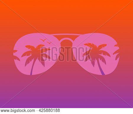 Aviator Sunglasses With Palms Reflection Vector Illustration Background. Aviator Sunglasses. Aviator