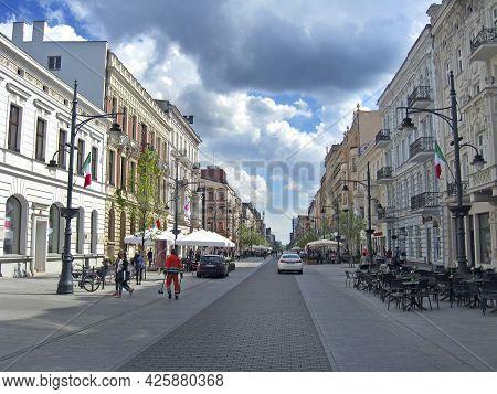 Lodz - Poland. 17 August 2019:  City Life. Traffic On Street Of Polish City Lodz. Crossroads On Busy