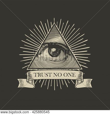 Vector Icon Of The Masonic Symbol All-seeing Eye Of God. The Eye Of Providence In A Triangle Pyramid