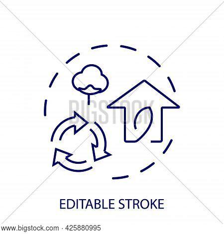 Eco Friendly Home Outline Concept Icon. Reuse Arrows Symbol. Organic Cotton. Green House. Customizab