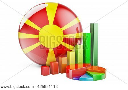 Macedonian Flag With Growth Bar Graph And Pie Chart. Business, Finance, Economic Statistics In Maced