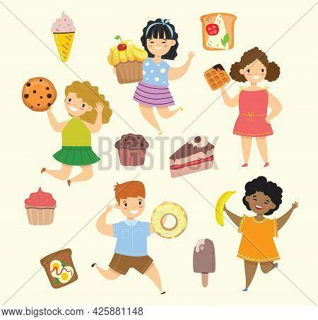 Cartoon Funny Friends Fast Food - Coockie, Waffle, Donut, Pretzel, Croissant