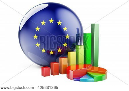 The Eu Flag With Growth Bar Graph And Pie Chart. Business, Finance, Economic Statistics In The Europ