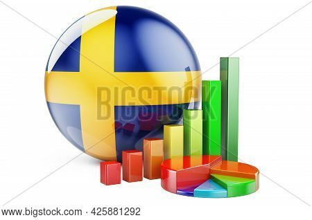 Swedish Flag With Growth Bar Graph And Pie Chart. Business, Finance, Economic Statistics In Sweden C