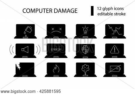 Computer Problems Glyph Icons Set. Notebook Repairs. Computer Damage. Computer Repair Wizard. Black