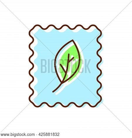 Organic Material Label Flat Icon. Fabric Feature. Textile Industry. Material Quality. Fiber Type. Co