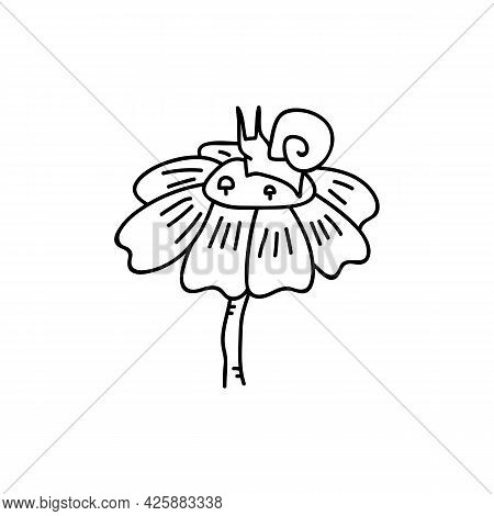 Single Hand Drawn Snail On A Flower. Doodle Vector Illustration. Isolated On A White Background. Gob