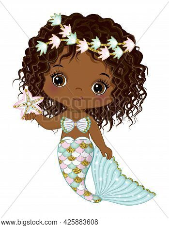 Cute Black Baby Mermaid With Glitter Turquoise And Pink Fishtail Holding Starfish. Curly Afro Mermai