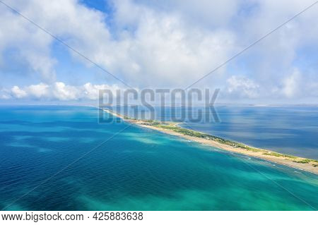 Bugaz Spit On The Black Sea. Top View. Cloudy Sky. Drone Photo.