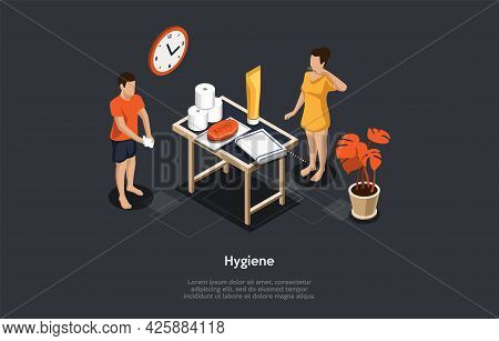 Illustration On Dark Background. Vector Composition, Cartoon 3d Style, Isometric Objects And Charact