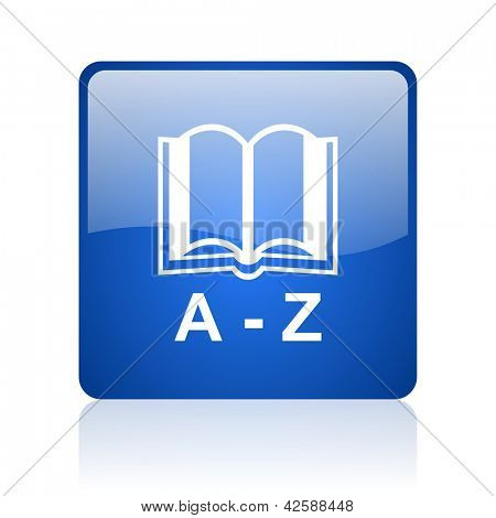 dictionary blue square glossy web icon on white background