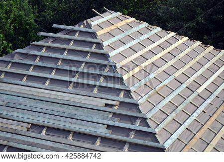Wood roof trusses. House construction. 1 June 2021. Kiev Region, Ukraine