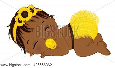 Cute Little Black Baby Girl Dressed In Yellow Ruffled Diaper And Sunflower Headband With Pacifier Sl