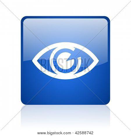 eye blue square glossy web icon on white background