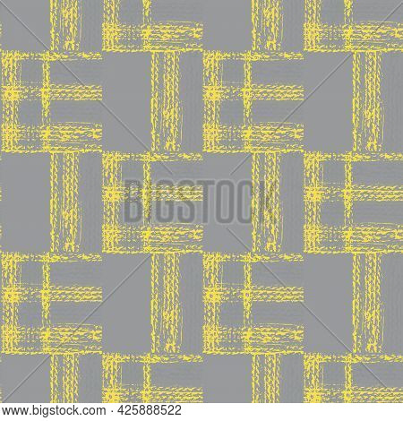 Abstract Vector Gauze Brush Effect Rectangles Seamless Pattern Background. Grid Offset Block Backdro