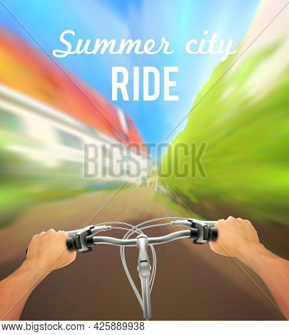 Handlebar Colored Poster With Man On Bike Rides In The City And Description Summer City Ride Vector