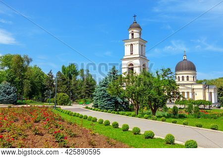 Central Park With Cathedral And Steeple In Chisinau Moldova  . Cathedral Park With Bell Tower , Chis