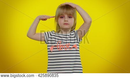 Yes Sir. Subordinate, Responsible Serious Little Child Kid Girl Giving Salute Listening To Order As