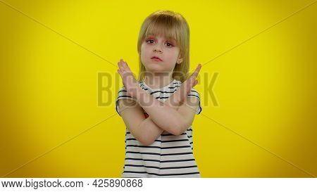 Young Children Say No Hold Palm Folded Crossed Hands In Stop Gesture, Warning Of Finish, Prohibited