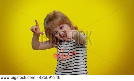 Funny Blonde Child Girl Showing Loser Gesture And Pointing On You, Blaming Accusing For Unsuccess, E