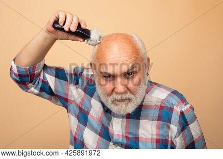 Old Man Hair Treatment. Gray Man Hair Clippings. Bald Man Hairclipper, Mature Baldness And Hair Loss
