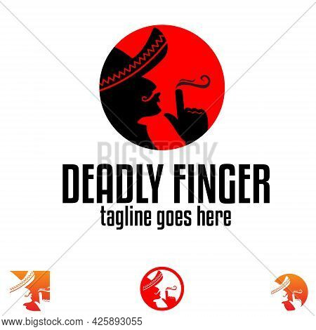 Deadly Finger Symbol Concept Vector Emblem Style, With The Silhouette Of Bandit