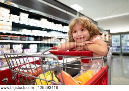 Child At Grocery Or Supermarket With Goods In Shopping Trolley. Kid Shopper With Groceries.