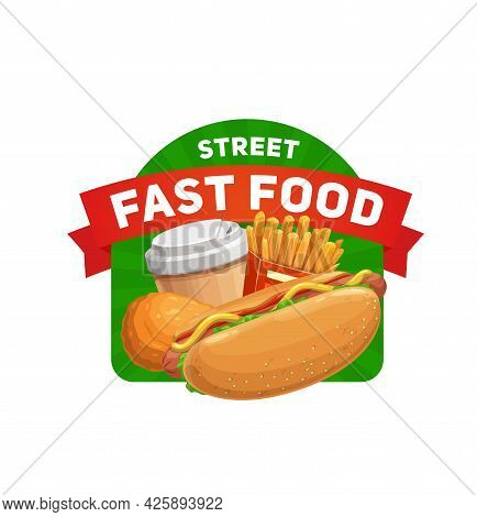 Street Fast Food Icon. Cartoon Vector Hot Dog With Sausage, Salad And Mustard, French Fries, Chicken