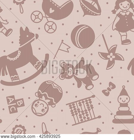 Vector Seamless Cute Childrens Pattern With Soviet Retro Toys