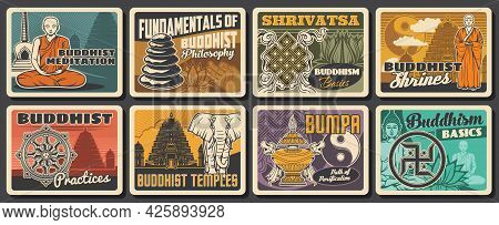 Buddhism Religion And Buddhist Meditation Retro Cards With Vector Symbols Of Buddhist Religious Lotu