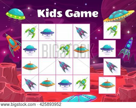 Kids Maze Game With Spaceships. Vector Sudoku Puzzle With Space Shuttles. Riddle With Cartoon Rocket
