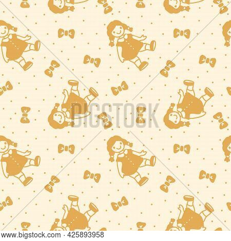 Vector Pattern With Polka Dots In Retro Style With Dolls And Bows