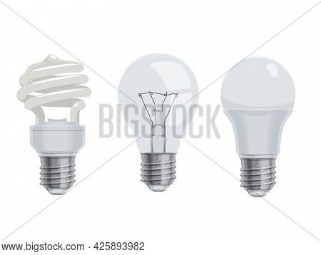 Lightbulbs And Lamps, Cartoon Vector Icons. Isolated Electric Led And Incandescent Or Energy Saving