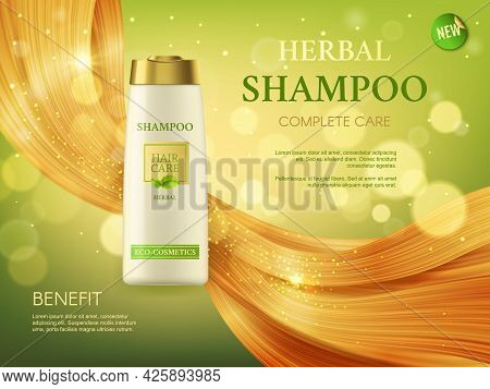 Herbal Shampoo, Woman Health And Beauty, Hair Care Cosmetics Vector Ad Banner. Bottle And Shining Bl