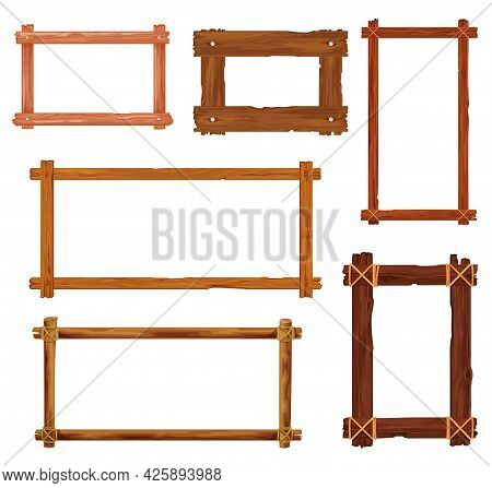 Cartoon Wooden Frames And Borders. Vector Wood Boards, Brown Old Planks And Panels With Splits, Crac