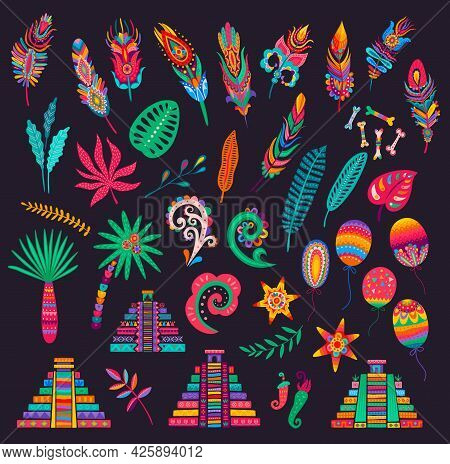 Mexican Feathers, Bones And Palms, Pyramids And Flowers, Chilli Peppers, Leaves And Balloons. Mexica
