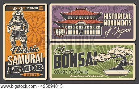 Japan History Museum, Monuments And Bonsai Art Retro Posters. Samurai Warrior In Armor, Armed Sword,