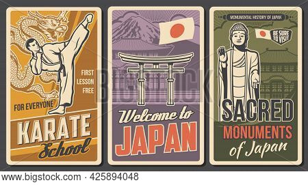 Japan Martial Art, Sacred Places Retro Posters. Karate Fighter In Kimono Striking High Kick, Ushiku