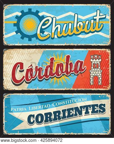 Chubut, Cordoba And Corrientes Region, Argentine Provinces Vintage Plates. Vector Flags Of Argentina