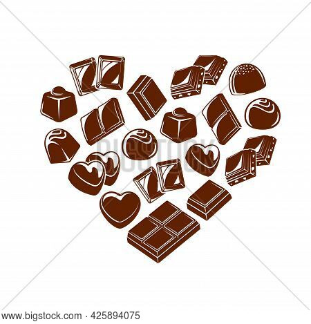 Chocolate Bar Pieces And Candies Heart. Chocolate Truffle And Bonbon With Praline And Toppings, Vect