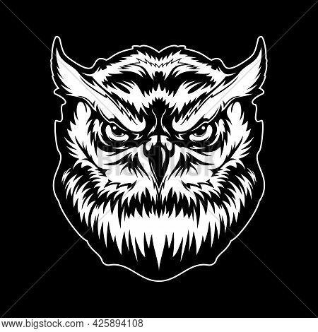 Great Horned Owl Bird Head T-shirt Print, Animal Mascot. Monochrome Vector Bird Of Prey Tattoo, Angr