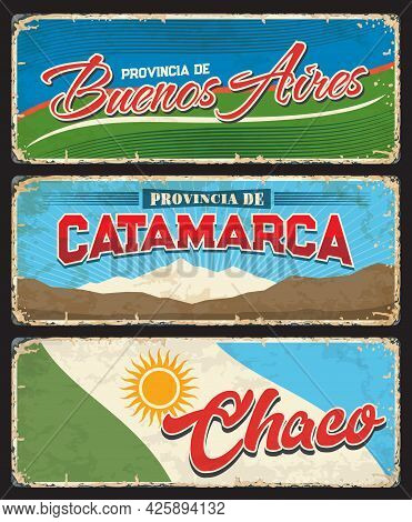 Buenos Aires, Catamarca And Chaco Regions, Argentine Provinces Vintage Vector Plates. Argentina Prov